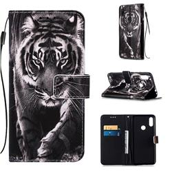 Black and White Tiger Matte Leather Wallet Phone Case for Xiaomi Mi Redmi Note 7 / Note 7 Pro