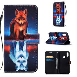 Water Fox Matte Leather Wallet Phone Case for Xiaomi Mi Redmi Note 7 / Note 7 Pro