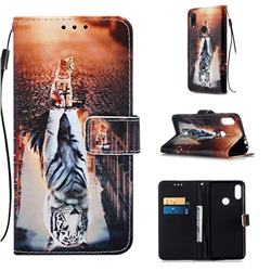 Cat and Tiger Matte Leather Wallet Phone Case for Xiaomi Mi Redmi Note 7 / Note 7 Pro