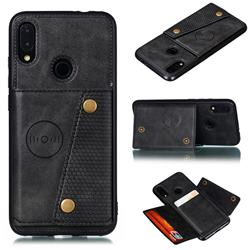 Retro Multifunction Card Slots Stand Leather Coated Phone Back Cover for Xiaomi Mi Redmi Note 7 / Note 7 Pro - Black