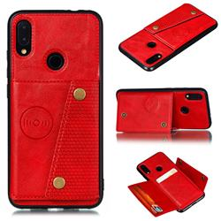 Retro Multifunction Card Slots Stand Leather Coated Phone Back Cover for Xiaomi Mi Redmi Note 7 / Note 7 Pro - Red