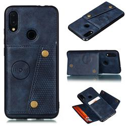 Retro Multifunction Card Slots Stand Leather Coated Phone Back Cover for Xiaomi Mi Redmi Note 7 / Note 7 Pro - Blue