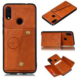 Retro Multifunction Card Slots Stand Leather Coated Phone Back Cover for Xiaomi Mi Redmi Note 7 / Note 7 Pro - Brown