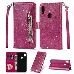 Glitter Shine Leather Zipper Wallet Phone Case for Xiaomi Mi Redmi Note 7 / Note 7 Pro - Rose
