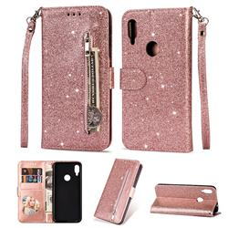Glitter Shine Leather Zipper Wallet Phone Case for Xiaomi Mi Redmi Note 7 / Note 7 Pro - Pink