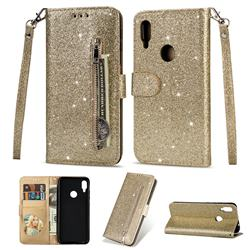 Glitter Shine Leather Zipper Wallet Phone Case for Xiaomi Mi Redmi Note 7 / Note 7 Pro - Gold
