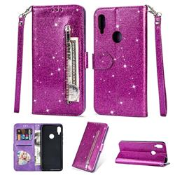 Glitter Shine Leather Zipper Wallet Phone Case for Xiaomi Mi Redmi Note 7 / Note 7 Pro - Purple