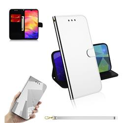 Shining Mirror Like Surface Leather Wallet Case for Xiaomi Mi Redmi Note 7 / Note 7 Pro - Silver