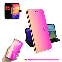 Shining Mirror Like Surface Leather Wallet Case for Xiaomi Mi Redmi Note 7 / Note 7 Pro - Rainbow Gradient