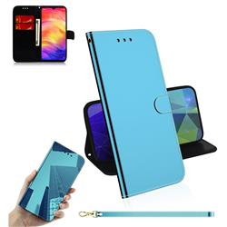 Shining Mirror Like Surface Leather Wallet Case for Xiaomi Mi Redmi Note 7 / Note 7 Pro - Blue