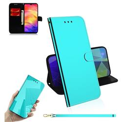 Shining Mirror Like Surface Leather Wallet Case for Xiaomi Mi Redmi Note 7 / Note 7 Pro - Mint Green