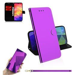 Shining Mirror Like Surface Leather Wallet Case for Xiaomi Mi Redmi Note 7 / Note 7 Pro - Purple