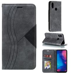 Retro S Streak Magnetic Leather Wallet Phone Case for Xiaomi Mi Redmi Note 7 / Note 7 Pro - Gray