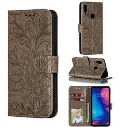 Intricate Embossing Lace Jasmine Flower Leather Wallet Case for Xiaomi Mi Redmi Note 7 / Note 7 Pro - Gray