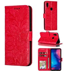 Intricate Embossing Lace Jasmine Flower Leather Wallet Case for Xiaomi Mi Redmi Note 7 / Note 7 Pro - Red