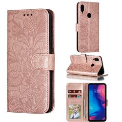 Intricate Embossing Lace Jasmine Flower Leather Wallet Case for Xiaomi Mi Redmi Note 7 / Note 7 Pro - Rose Gold