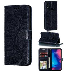 Intricate Embossing Lace Jasmine Flower Leather Wallet Case for Xiaomi Mi Redmi Note 7 / Note 7 Pro - Dark Blue