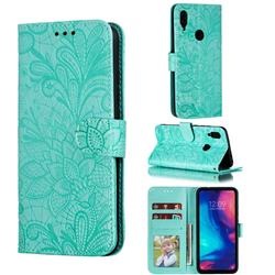 Intricate Embossing Lace Jasmine Flower Leather Wallet Case for Xiaomi Mi Redmi Note 7 / Note 7 Pro - Green