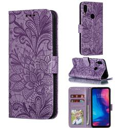 Intricate Embossing Lace Jasmine Flower Leather Wallet Case for Xiaomi Mi Redmi Note 7 / Note 7 Pro - Purple