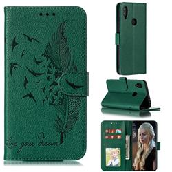 Intricate Embossing Lychee Feather Bird Leather Wallet Case for Xiaomi Mi Redmi Note 7 / Note 7 Pro - Green