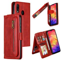 Multifunction 9 Cards Leather Zipper Wallet Phone Case for Xiaomi Mi Redmi Note 7 / Note 7 Pro - Red