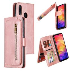 Multifunction 9 Cards Leather Zipper Wallet Phone Case for Xiaomi Mi Redmi Note 7 / Note 7 Pro - Rose Gold