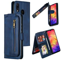Multifunction 9 Cards Leather Zipper Wallet Phone Case for Xiaomi Mi Redmi Note 7 / Note 7 Pro - Blue