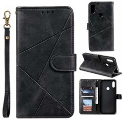 Embossing Geometric Leather Wallet Case for Xiaomi Mi Redmi Note 7 / Note 7 Pro - Black