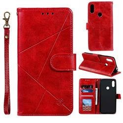 Embossing Geometric Leather Wallet Case for Xiaomi Mi Redmi Note 7 / Note 7 Pro - Red