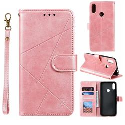 Embossing Geometric Leather Wallet Case for Xiaomi Mi Redmi Note 7 / Note 7 Pro - Rose Gold