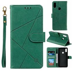 Embossing Geometric Leather Wallet Case for Xiaomi Mi Redmi Note 7 / Note 7 Pro - Green