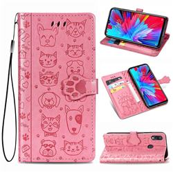 Embossing Dog Paw Kitten and Puppy Leather Wallet Case for Xiaomi Mi Redmi Note 7 / Note 7 Pro - Pink