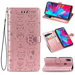Embossing Dog Paw Kitten and Puppy Leather Wallet Case for Xiaomi Mi Redmi Note 7 / Note 7 Pro - Rose Gold