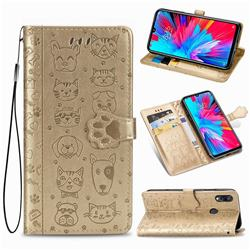 Embossing Dog Paw Kitten and Puppy Leather Wallet Case for Xiaomi Mi Redmi Note 7 / Note 7 Pro - Champagne Gold