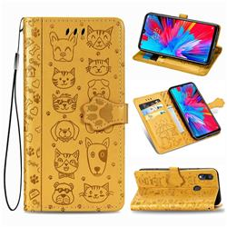 Embossing Dog Paw Kitten and Puppy Leather Wallet Case for Xiaomi Mi Redmi Note 7 / Note 7 Pro - Yellow