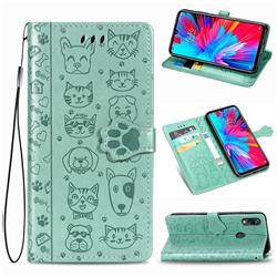 Embossing Dog Paw Kitten and Puppy Leather Wallet Case for Xiaomi Mi Redmi Note 7 / Note 7 Pro - Green