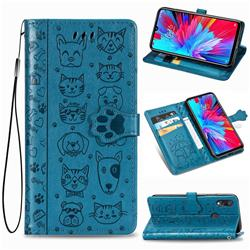 Embossing Dog Paw Kitten and Puppy Leather Wallet Case for Xiaomi Mi Redmi Note 7 / Note 7 Pro - Blue