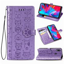 Embossing Dog Paw Kitten and Puppy Leather Wallet Case for Xiaomi Mi Redmi Note 7 / Note 7 Pro - Purple