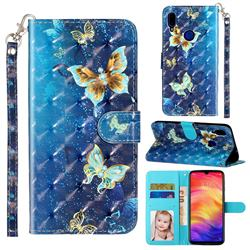 Rankine Butterfly 3D Leather Phone Holster Wallet Case for Xiaomi Mi Redmi Note 7 / Note 7 Pro