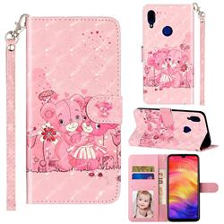 Pink Bear 3D Leather Phone Holster Wallet Case for Xiaomi Mi Redmi Note 7 / Note 7 Pro