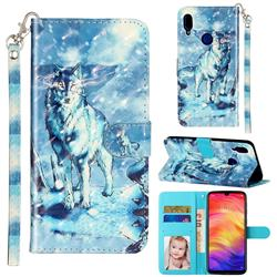 Snow Wolf 3D Leather Phone Holster Wallet Case for Xiaomi Mi Redmi Note 7 / Note 7 Pro