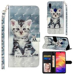 Kitten Cat 3D Leather Phone Holster Wallet Case for Xiaomi Mi Redmi Note 7 / Note 7 Pro