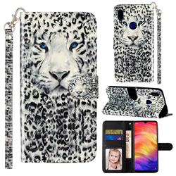 White Leopard 3D Leather Phone Holster Wallet Case for Xiaomi Mi Redmi Note 7 / Note 7 Pro