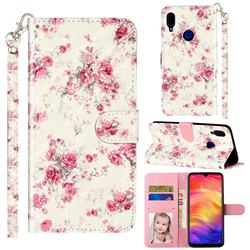Rambler Rose Flower 3D Leather Phone Holster Wallet Case for Xiaomi Mi Redmi Note 7 / Note 7 Pro