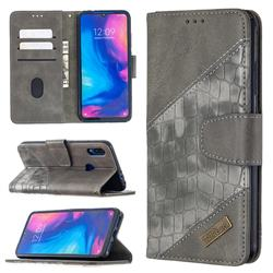 BinfenColor BF04 Color Block Stitching Crocodile Leather Case Cover for Xiaomi Mi Redmi Note 7 / Note 7 Pro - Gray