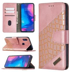 BinfenColor BF04 Color Block Stitching Crocodile Leather Case Cover for Xiaomi Mi Redmi Note 7 / Note 7 Pro - Rose Gold