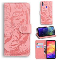 Intricate Embossing Tiger Face Leather Wallet Case for Xiaomi Mi Redmi Note 7 / Note 7 Pro - Pink