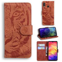 Intricate Embossing Tiger Face Leather Wallet Case for Xiaomi Mi Redmi Note 7 / Note 7 Pro - Brown