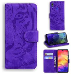 Intricate Embossing Tiger Face Leather Wallet Case for Xiaomi Mi Redmi Note 7 / Note 7 Pro - Purple