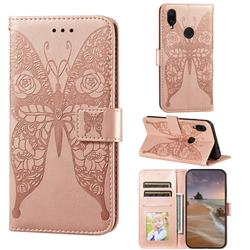 Intricate Embossing Rose Flower Butterfly Leather Wallet Case for Xiaomi Mi Redmi Note 7 / Note 7 Pro - Rose Gold